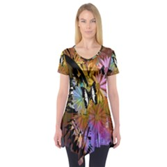 Abstract Digital Art Short Sleeve Tunic