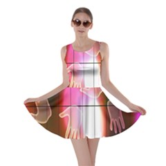 Abstract Background Design Squares Skater Dress