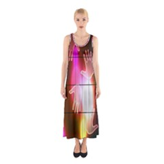 Abstract Background Design Squares Sleeveless Maxi Dress