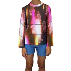 Abstract Background Design Squares Kids  Long Sleeve Swimwear
