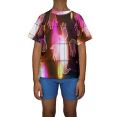 Abstract Background Design Squares Kids  Short Sleeve Swimwear