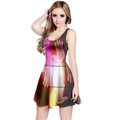 Abstract Background Design Squares Reversible Sleeveless Dress