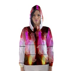 Abstract Background Design Squares Hooded Wind Breaker (women)