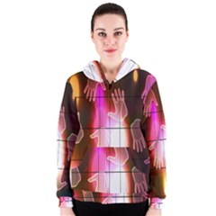 Abstract Background Design Squares Women s Zipper Hoodie