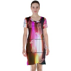 Abstract Background Design Squares Short Sleeve Nightdress