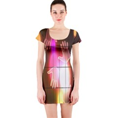 Abstract Background Design Squares Short Sleeve Bodycon Dress