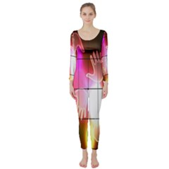 Abstract Background Design Squares Long Sleeve Catsuit