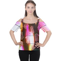 Abstract Background Design Squares Women s Cutout Shoulder Tee