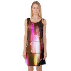 Abstract Background Design Squares Sleeveless Satin Nightdress