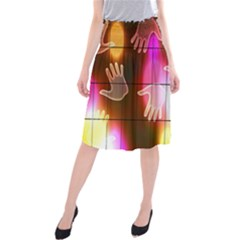 Abstract Background Design Squares Midi Beach Skirt