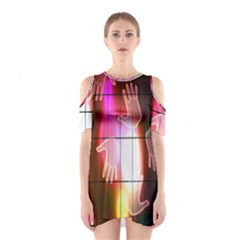Abstract Background Design Squares Shoulder Cutout One Piece