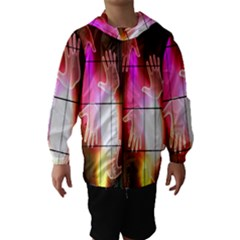 Abstract Background Design Squares Hooded Wind Breaker (Kids)