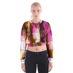 Abstract Background Design Squares Women s Cropped Sweatshirt