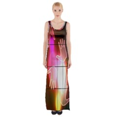 Abstract Background Design Squares Maxi Thigh Split Dress
