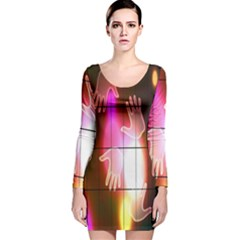 Abstract Background Design Squares Long Sleeve Velvet Bodycon Dress