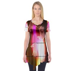 Abstract Background Design Squares Short Sleeve Tunic
