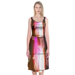 Abstract Background Design Squares Midi Sleeveless Dress