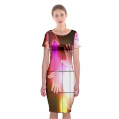 Abstract Background Design Squares Classic Short Sleeve Midi Dress