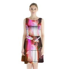 Abstract Background Design Squares Sleeveless Chiffon Waist Tie Dress