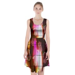 Abstract Background Design Squares Racerback Midi Dress