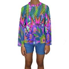 Abstract Digital Art  Kids  Long Sleeve Swimwear