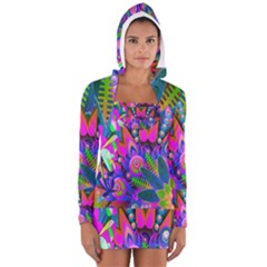 Abstract Digital Art  Women s Long Sleeve Hooded T Shirt