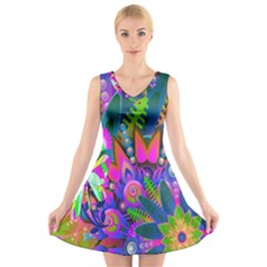 Abstract Digital Art  V Neck Sleeveless Skater Dress