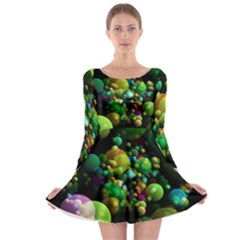 Abstract Balls Color About Long Sleeve Skater Dress