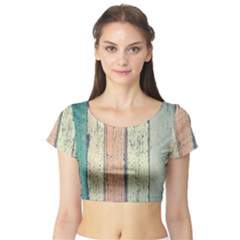 Abstract Board Construction Panel Short Sleeve Crop Top (Tight Fit)