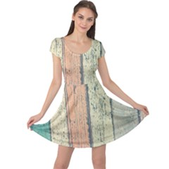 Abstract Board Construction Panel Cap Sleeve Dresses