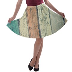 Abstract Board Construction Panel A-line Skater Skirt