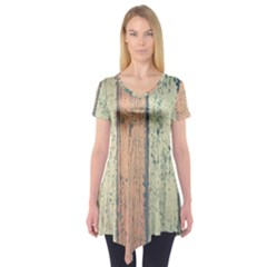 Abstract Board Construction Panel Short Sleeve Tunic