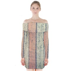 Abstract Board Construction Panel Long Sleeve Off Shoulder Dress