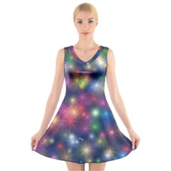 Abstract Background Graphic Design V Neck Sleeveless Skater Dress