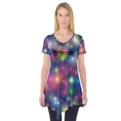 Abstract Background Graphic Design Short Sleeve Tunic
