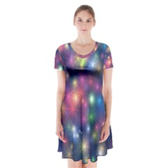 Abstract Background Graphic Design Short Sleeve V-neck Flare Dress