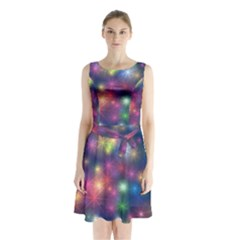 Abstract Background Graphic Design Sleeveless Chiffon Waist Tie Dress
