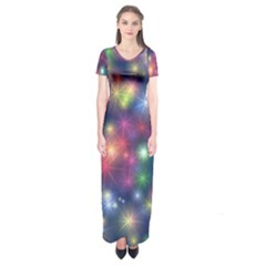 Abstract Background Graphic Design Short Sleeve Maxi Dress