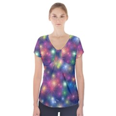Abstract Background Graphic Design Short Sleeve Front Detail Top