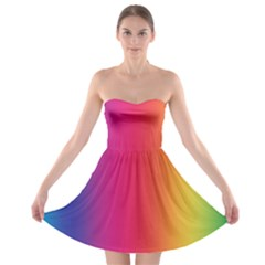Abstract Rainbow Strapless Bra Top Dress