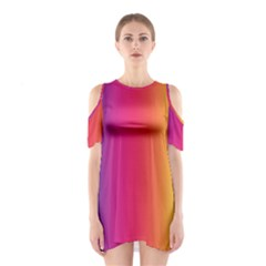 Abstract Rainbow Shoulder Cutout One Piece