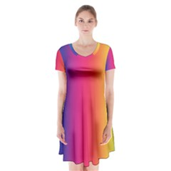 Abstract Rainbow Short Sleeve V-neck Flare Dress