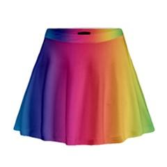 Abstract Rainbow Mini Flare Skirt