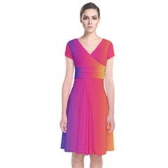 Abstract Rainbow Short Sleeve Front Wrap Dress