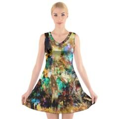 Abstract Digital Art V Neck Sleeveless Skater Dress
