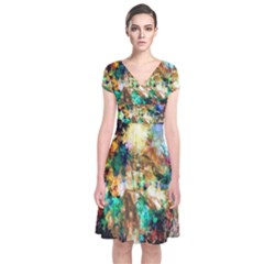 Abstract Digital Art Short Sleeve Front Wrap Dress
