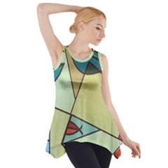 Abstract Art Face Side Drop Tank Tunic