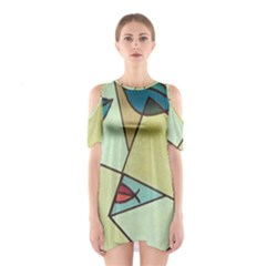 Abstract Art Face Shoulder Cutout One Piece