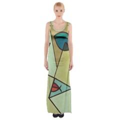 Abstract Art Face Maxi Thigh Split Dress