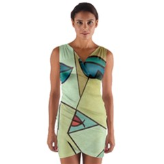 Abstract Art Face Wrap Front Bodycon Dress